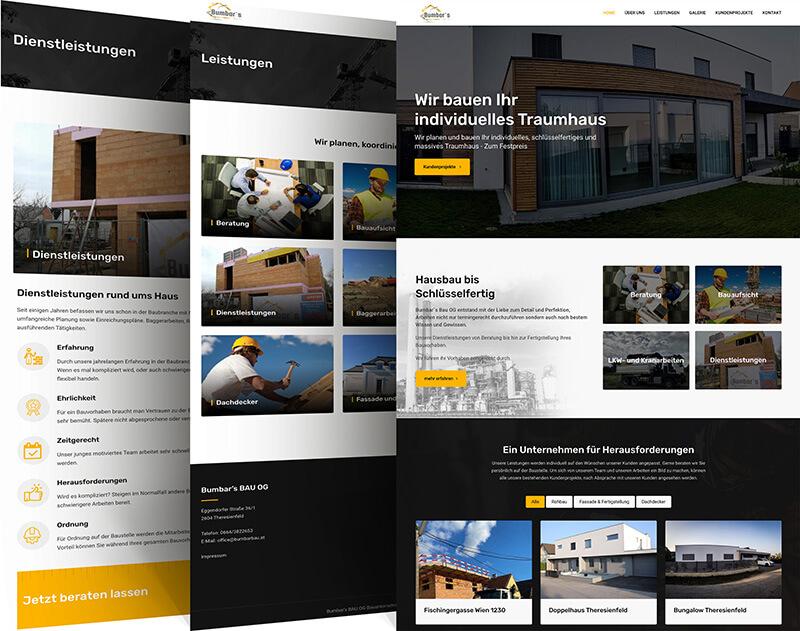 Website Referenz Baufirma - Hausbau bis zur Schlüsselübergabe